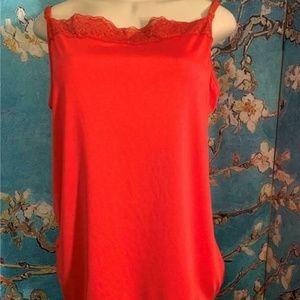 Fashion Bug Coral Lace Trim Camisole Tunic Top